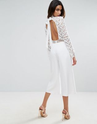 58f3f16356b ASOS Premium Lace Jumpsuit with Open Back and Culotte Leg