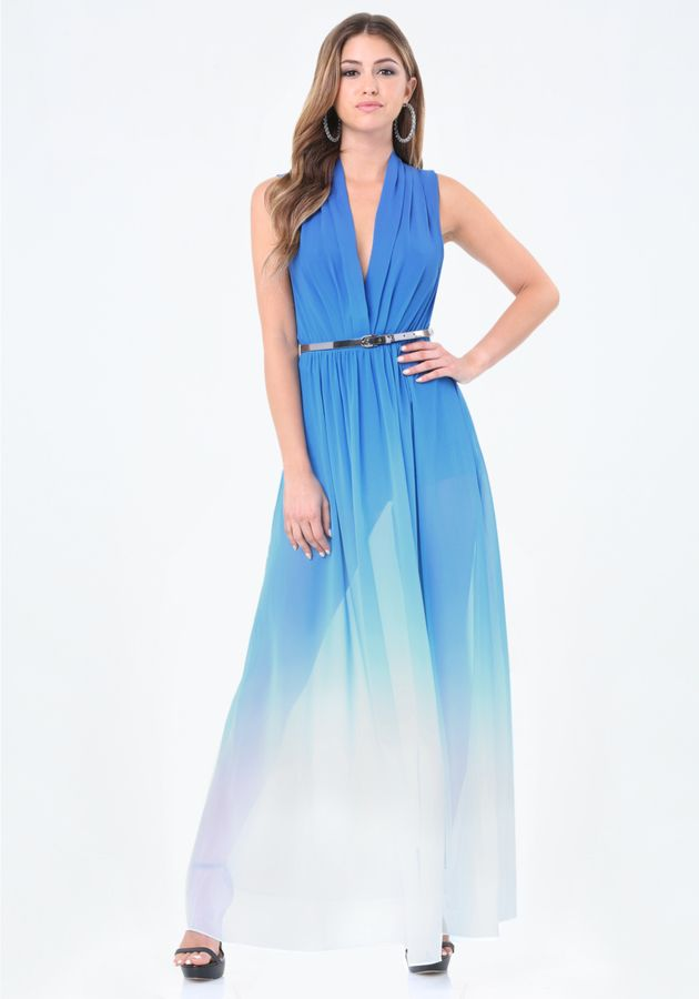 Ombre High Slit Gown