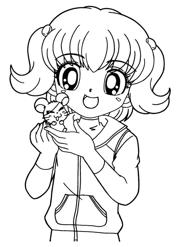 anime girl anime girl and little hamtaro coloring page