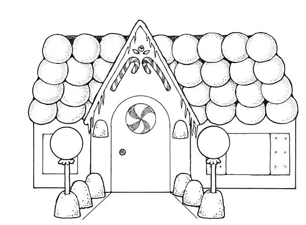 Gingerbread House with so Many Balloons Coloring Page images