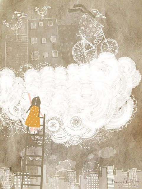 Perhaps the buildings in the background become black doodled line drawings of a school? The girl on ladder and the bicycle is something related to the storyline?