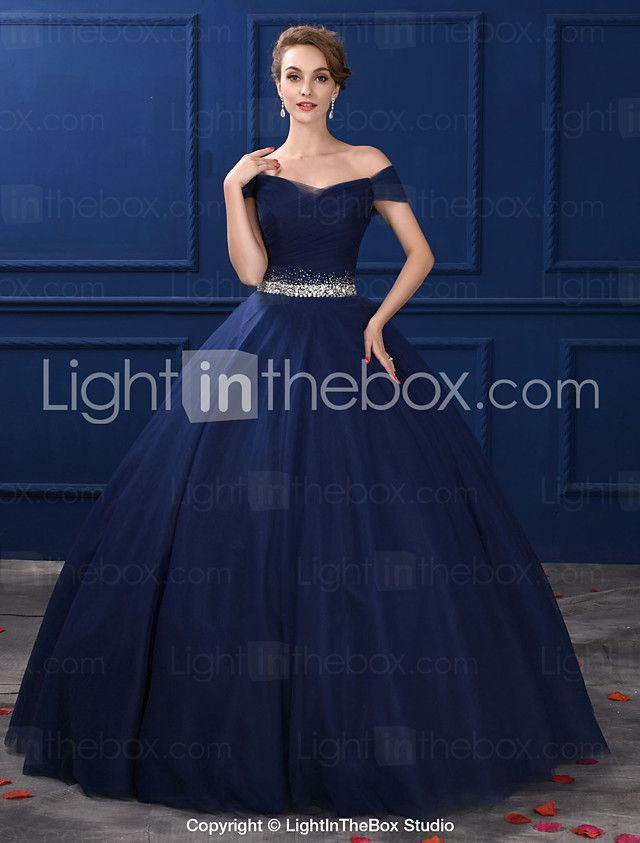 98be6a602680 Formal Evening Dress Ball Gown Off-the-shoulder Floor-length Satin   Tulle    Stretch Satin with Crystal Detailing 2017 -  203.76