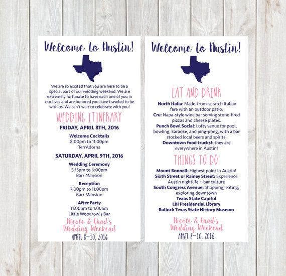 Welcome Letter Wedding Itinerary Hotel Welcome Letter  Wedding