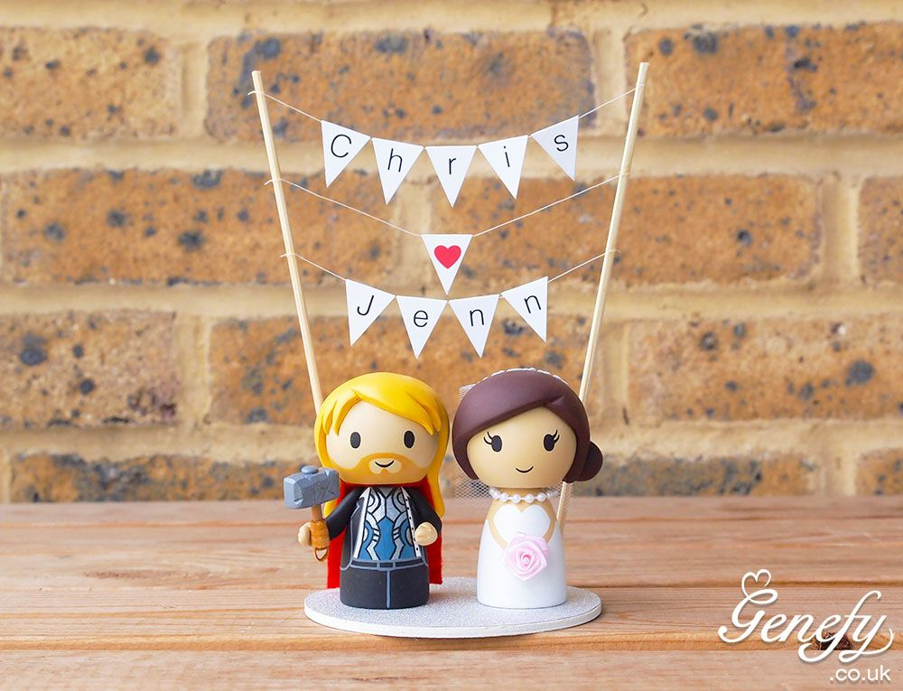 Thor groom and bride wedding cake topper by Genefy Playground. https://www.facebook.com/genefyplayground