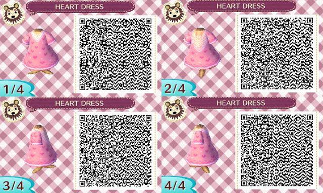 Animal Crossing New Leaf QR Codes: Heart Dress