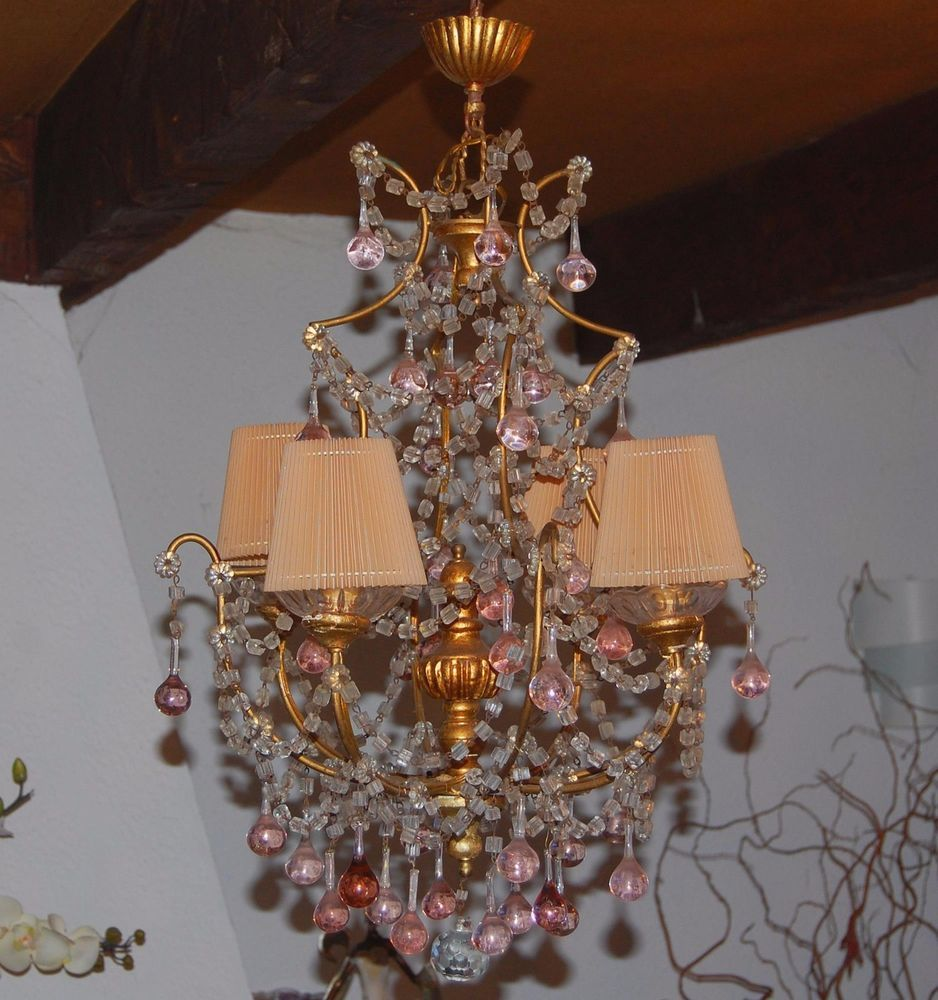 magnifique lustre ancien pampilles cristal murano couleur rose glass fruits chandeliers and. Black Bedroom Furniture Sets. Home Design Ideas