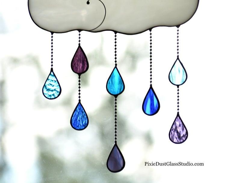 Stained Glass Rain Cloud Suncatcher With Blue Purple Colored Etsy In 2021 Blue And Purple Suncatchers Rain Clouds