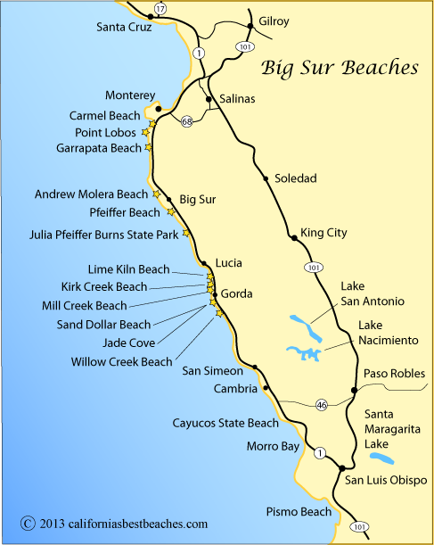pfeiffer beach big sur on map | Map showing the Big Sur Coast from ...