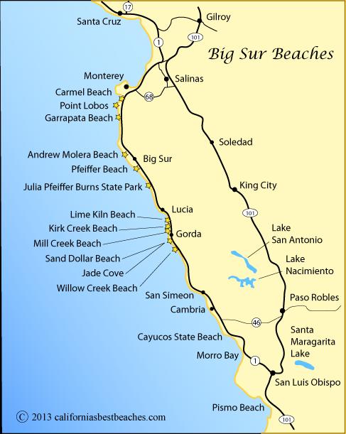 Pfeiffer Beach Sur On Map Showing The Coast From San Luis Obispo To Santa Cruz Ca