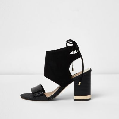 af1653f129f Black wide fit tie back block heel sandals - Shoes   Boots - Sale - women. River  Island ...