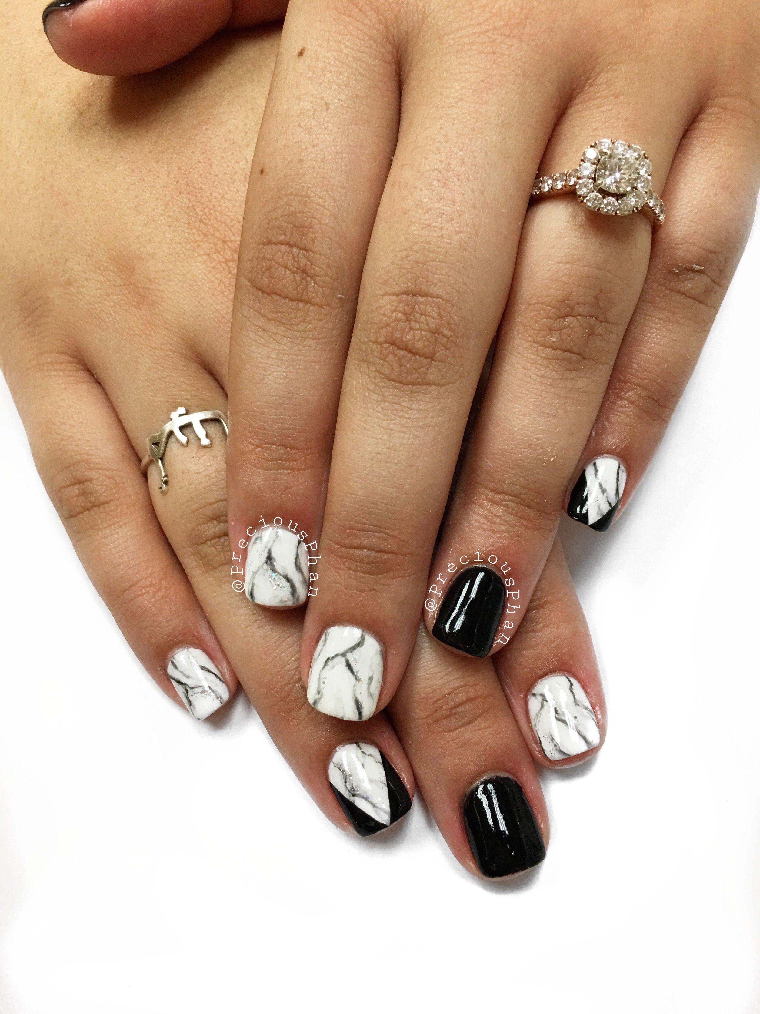 Marble nails. White and black nails. Chevron nails. #PreciousPhan ...