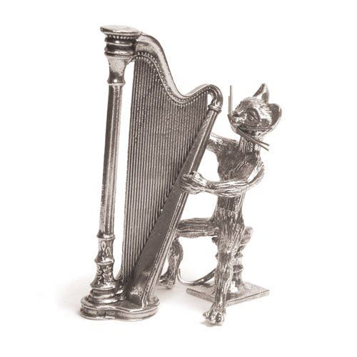 figurine musicale - chat harpe miniature - etain 95,5 ... - Cuisine Fabrication Francaise