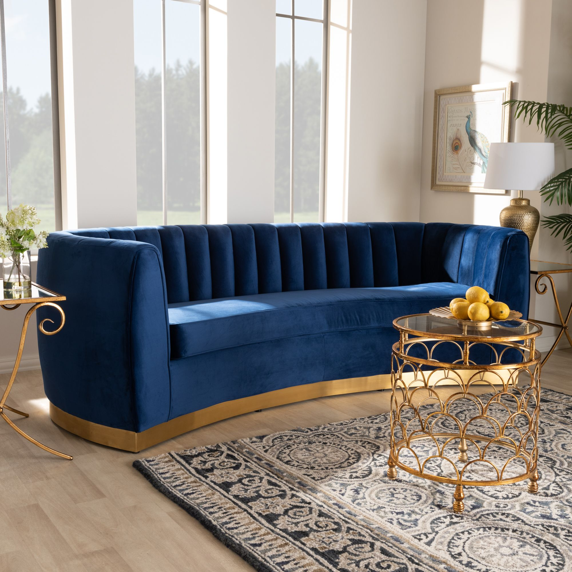 Baxton Studio Milena Glam Royal Blue Velvet Fabric Upholstered