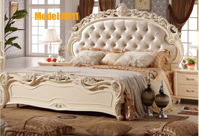Royal Bedroom Designs | Shipping White Royal Wood Carving Princess Design  TWO BEDS Bedroom . Part 41