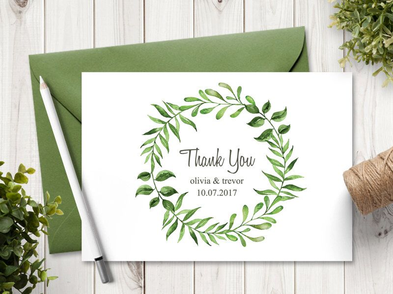 Watercolor Wreath Wedding Thank You Card Template \