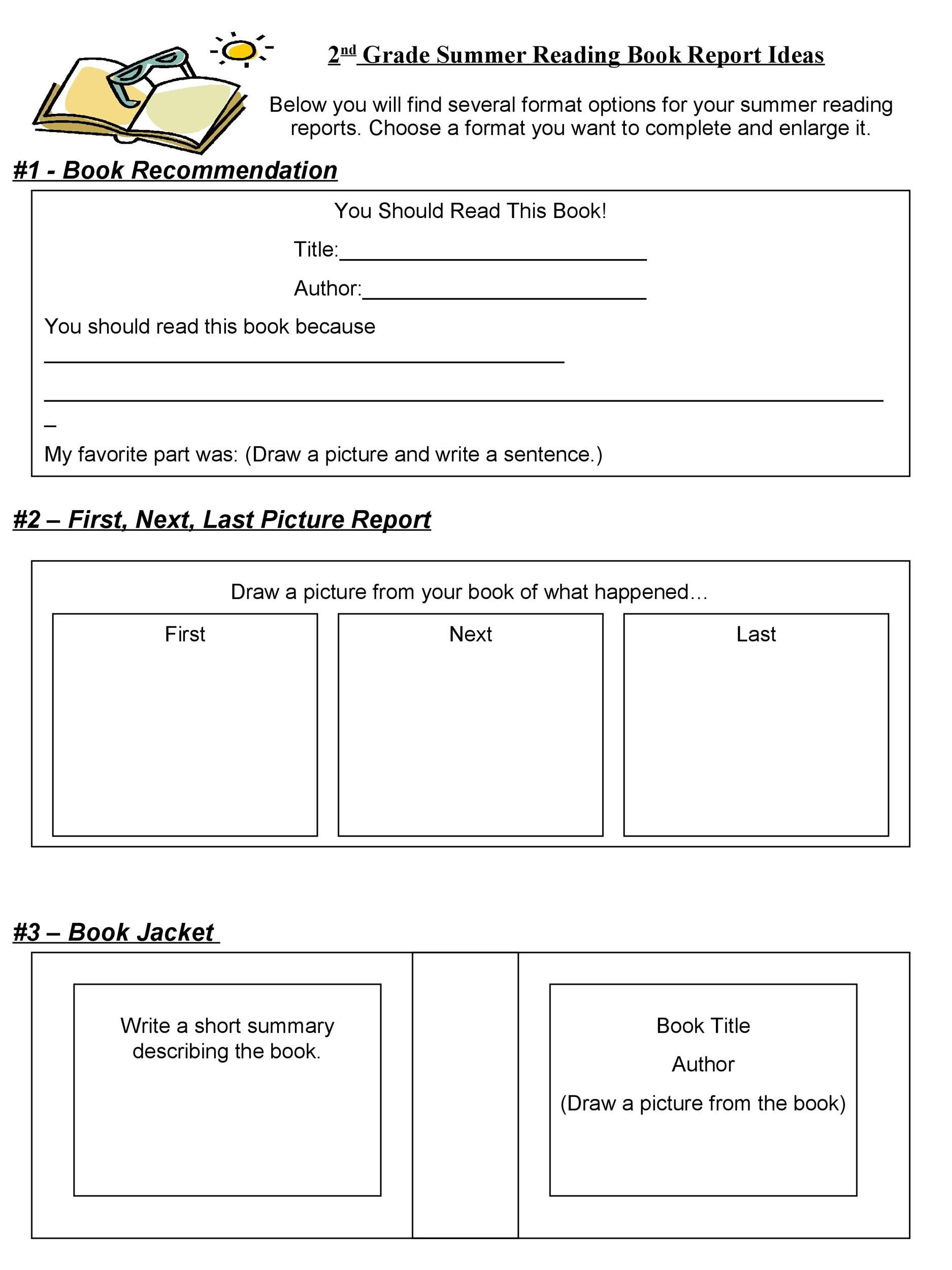 Book Report Template 9th Grade 3