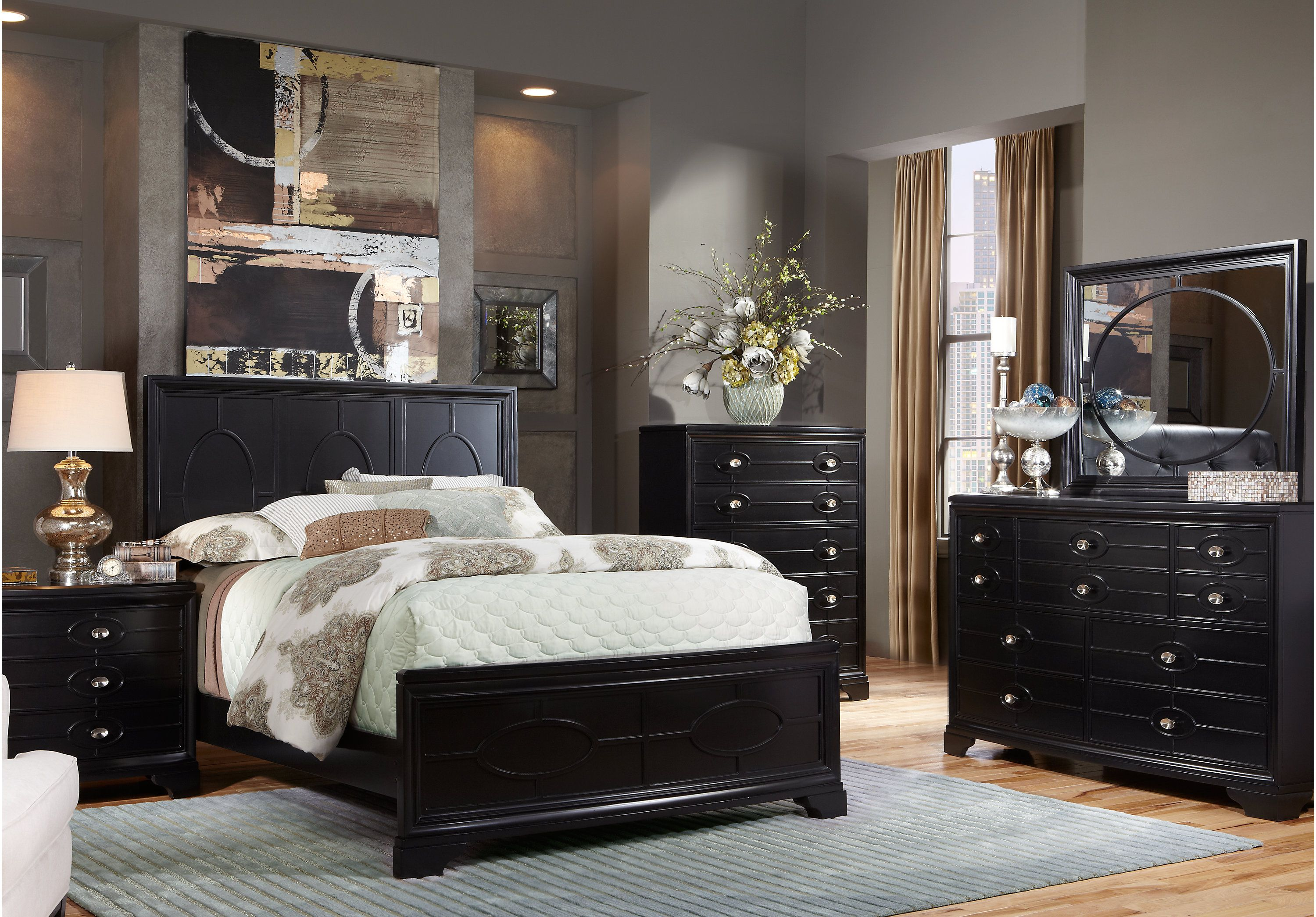 Picture of cindy crawford westport place king black 5pc panel bedroom from king bedroom sets furniture