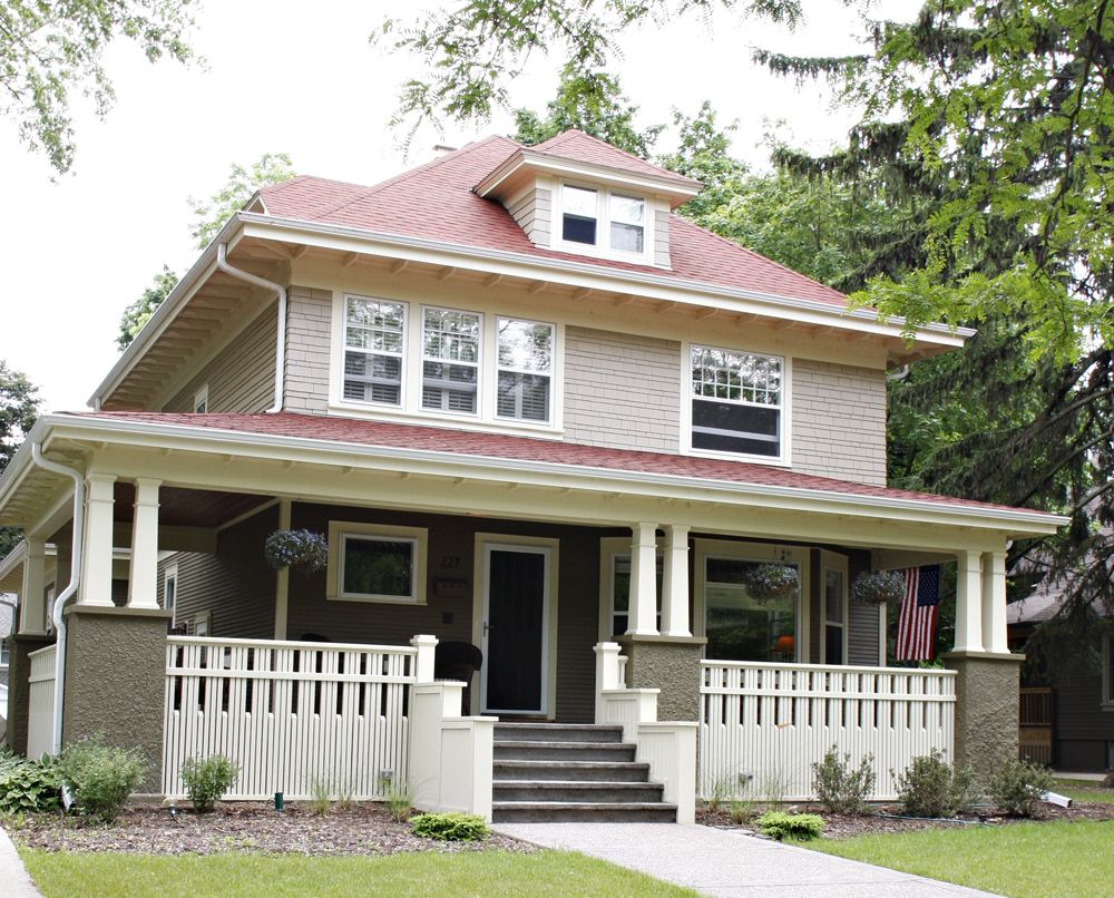 Foursqaure Exterior American Houses Four Square Homes House