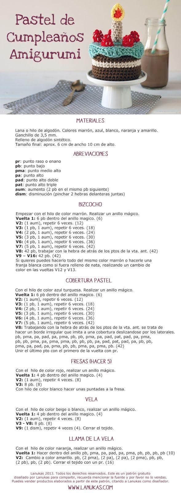 Pastel de Cumpleaños Amigurumi - Patrón Gratis en Español | CROCHET ...