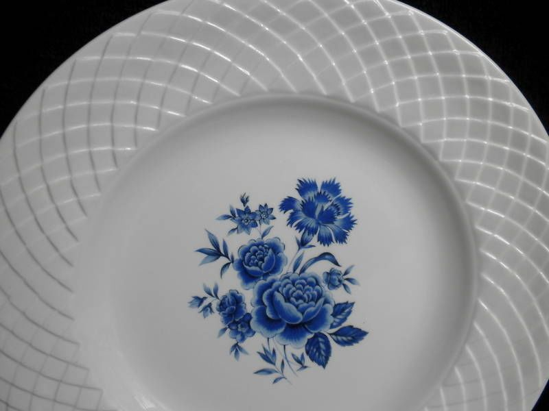 Wedgwood Dinner Plate (s) Ironstone Blue Rose Pattern Basketweave Verge Vintage