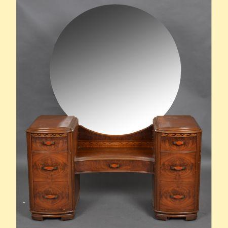1940 S Round Mirror Waterfall Style Vanity Art Deco Bedroom Furniture Art Deco Bedroom Waterfall Vanity