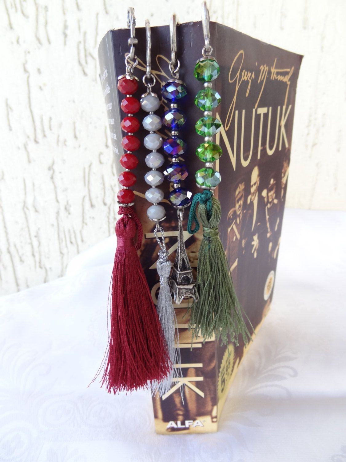 Crystal Bookmark, Tassel Bookmark, Green,Grey,Burgundy,Saxs Blue Bookmark, Best Friend Gift, Book-Friendly, Christmas Gift, by sevinchjewelry on Etsy