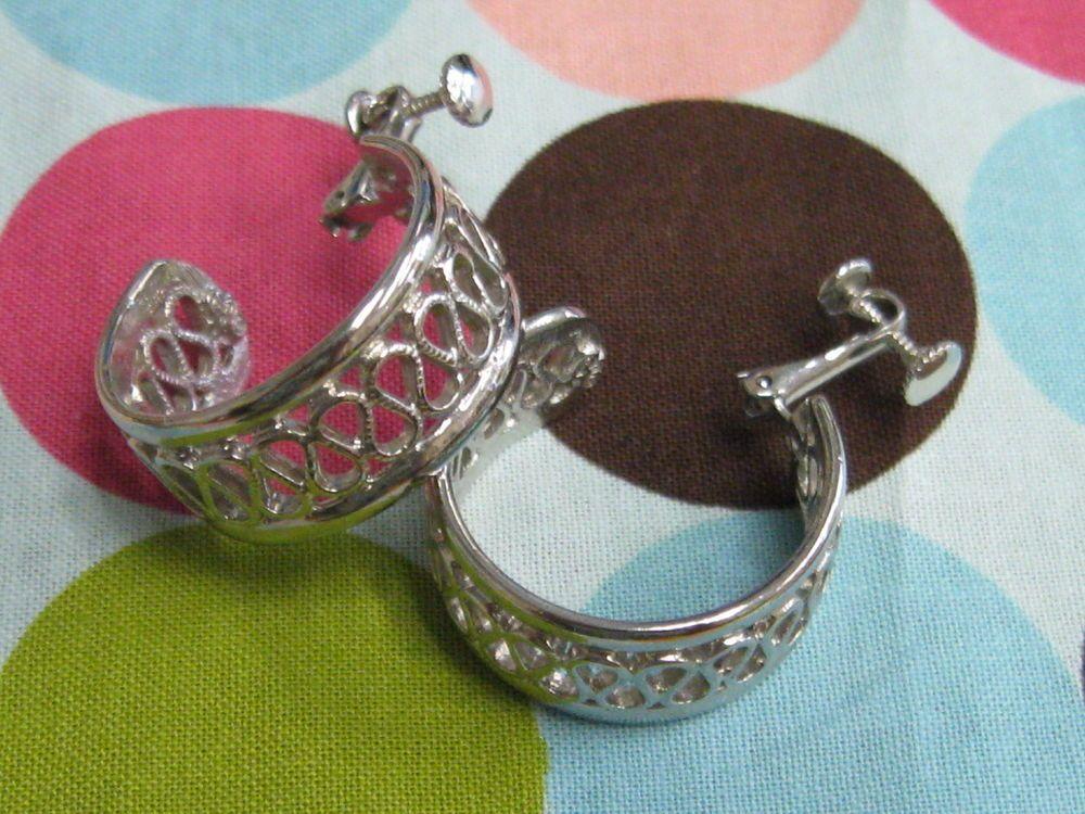 1960's Slilvertone Huggie Earrings Hedison Mfg Company Adjustable Screw Backs   eBay