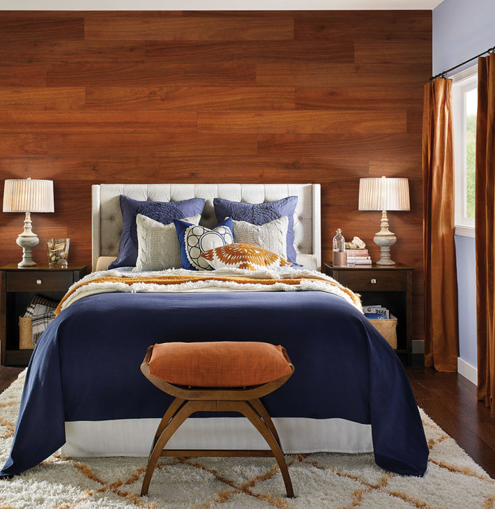 Laguna Acacia Quick Step Studio Laminate Flooring At Lowe S Cozy Bedroom Featuring Flooring On Accent Wall In 2020 Flooring On Walls Home Bedroom Laminate Flooring