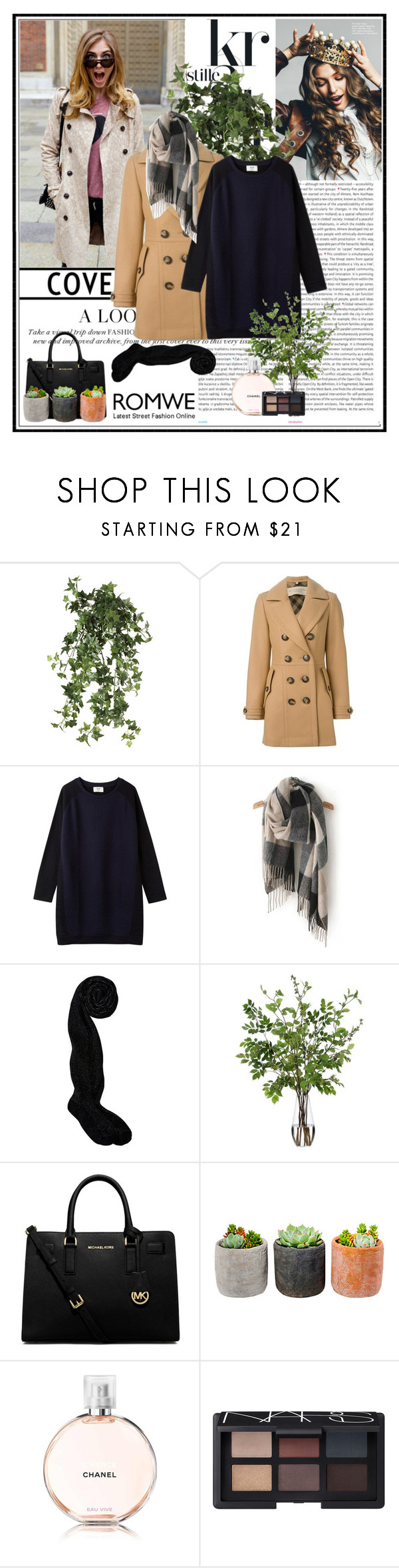 """""""Romwe Scarf"""" by angiegdurant ❤ liked on Polyvore featuring Oris, OKA, Burberry, Diane James, MICHAEL Michael Kors, Shop Succulents and NARS Cosmetics"""