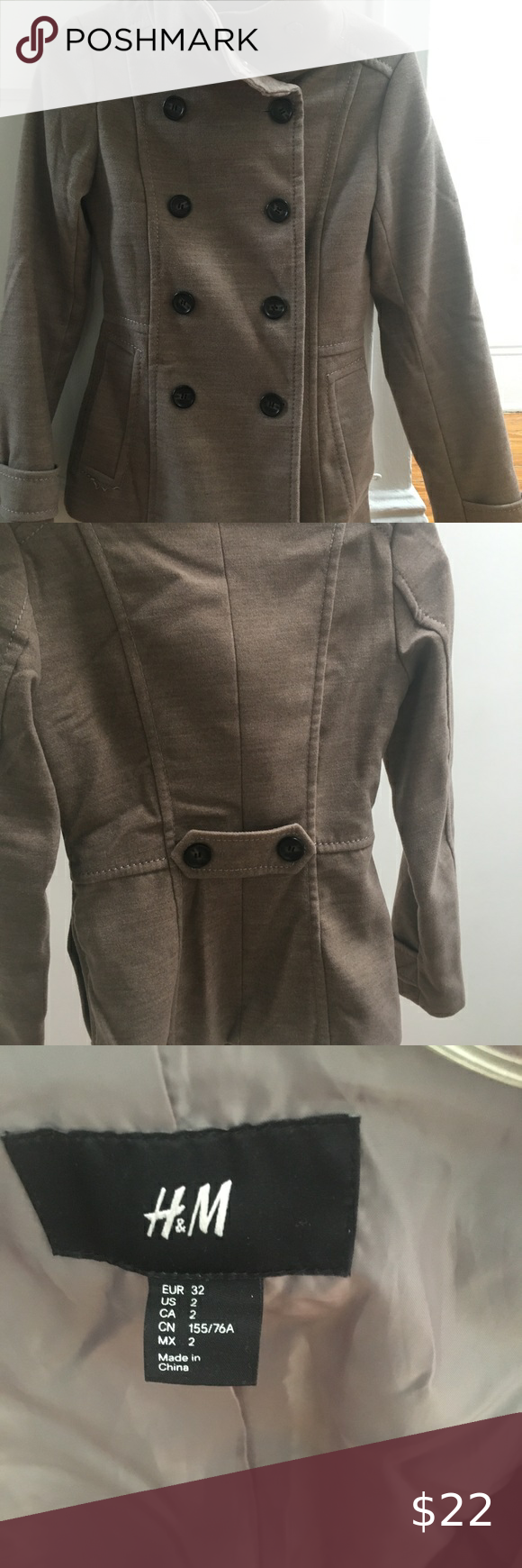 Tan/Sand Colored Trench/ Pea Coat in US 2/ EUR 32