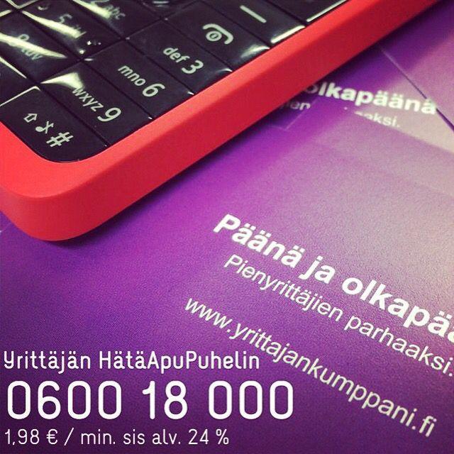 Yrittäjän HätäApuPuhelin 0600 18000 - vinkkejä, neuvoja, päätä ja olkapäätä. Yrittäjältä yrittäjälle.  1,98€/min sis alv 24%