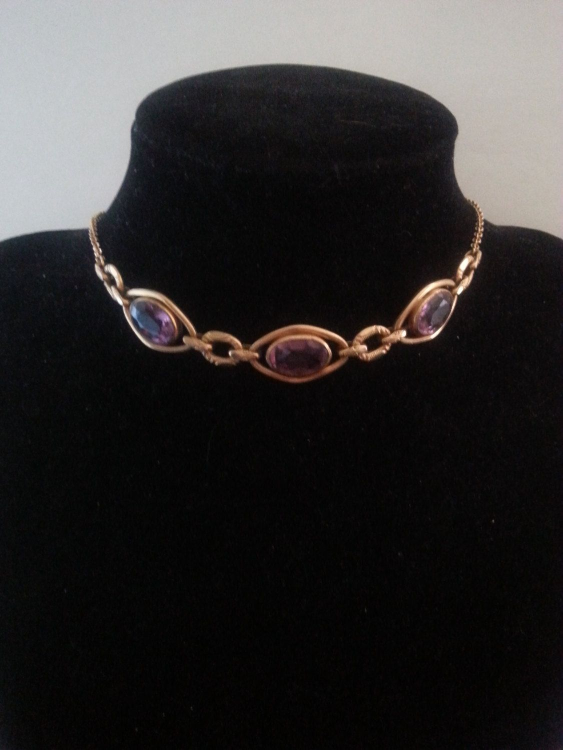 Art Deco Necklace ~ Purple Glass Delicate Jewelry ~ 1930's 1940's Vintage Jewelry by MartiniMermaid on Etsy