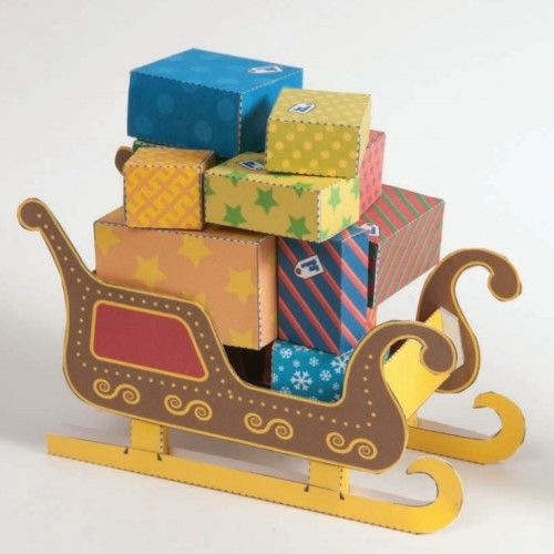 Printable Santa Sleigh Papercraft Paper Crafts Papercraft Download Gift Box Template Free