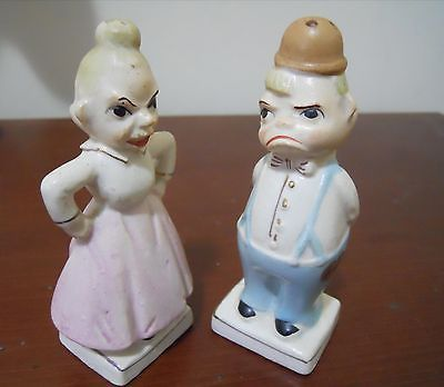 Rare Vintage Salt And Pepper Shakers Artkaul Japan Two Face Happy