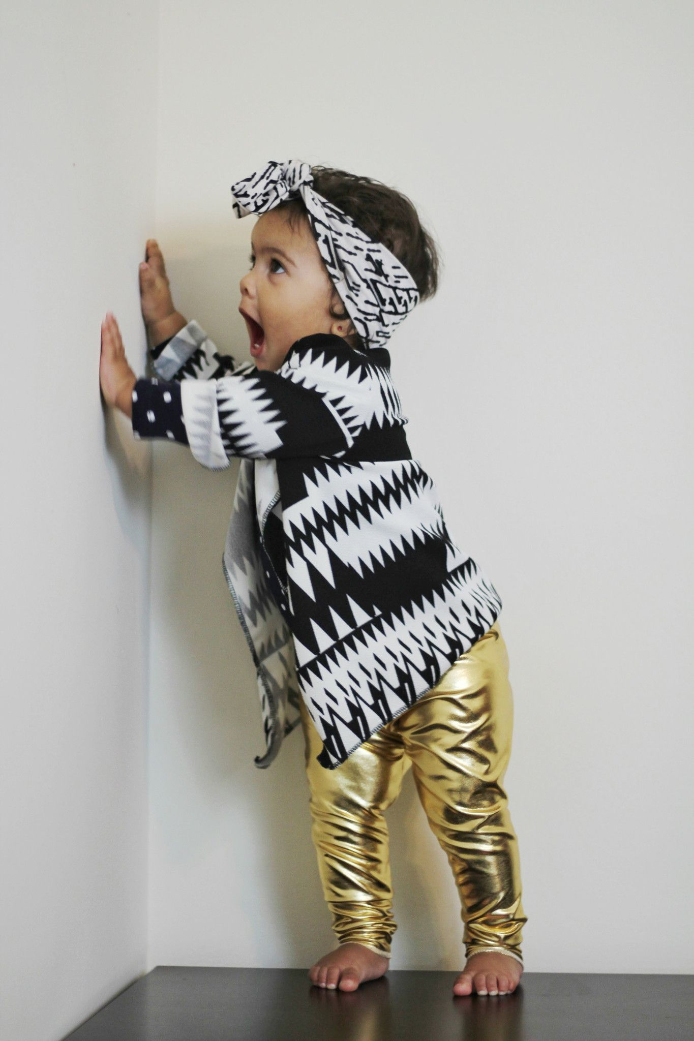 b837558842970 Metallic Gold Leggings for Toddlers A stunning baby outfit for your little  fashionista, these golden pants along with our Aztec inspired cardigan wrap  will ...