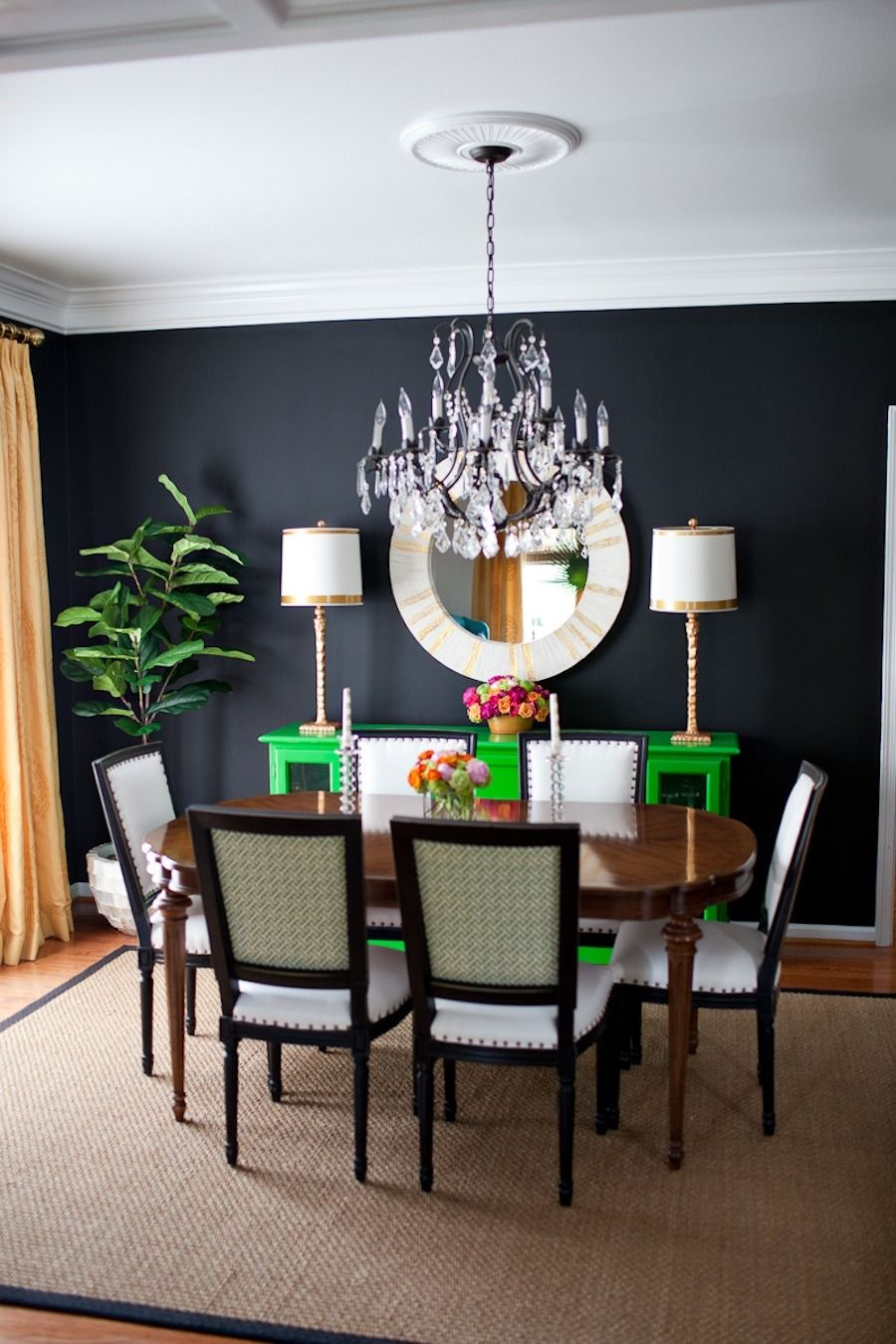 Kelly Green Console In A Black Dining Room