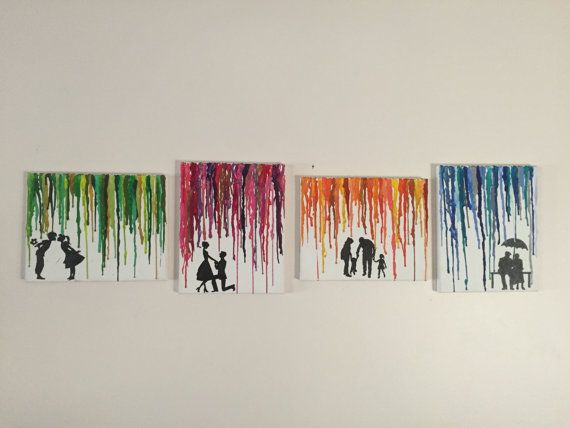 Ähnliche Artikel wie Journey of Love Melted Crayon Art Set of 4: Transition from Young Couple to Marriage to Family to Old Couple for Anniversary, VDay, etc. auf Etsy #50anniversary