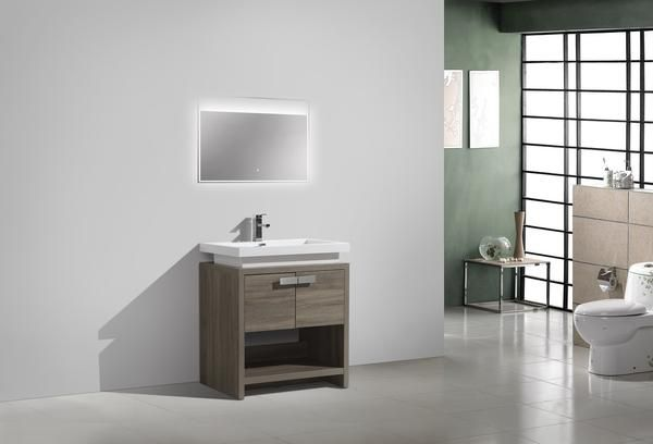 Levi Havana Oak Modern Bathroom Vanity With Acrylic Top U - Modern bathroom store