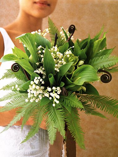 Green bridal bouquet of primarily ferns and fern shoots. Includes a touch of pretty lily of the valley.