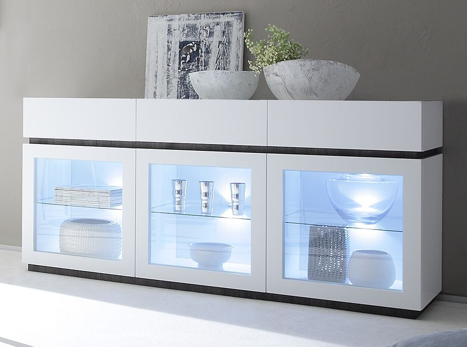 Lorenz High Gloss White Wide Sideboard Glass Door with LED Lights ...