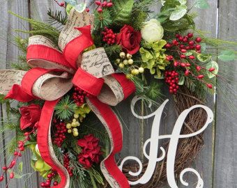 Photo of Items similar to Christmas Wreath with Snowy Berries, Christmas Wreath, Red Velvet Wreath, Wreath Initial, Monogram Wreath, Snowy Berry Wreath Horn's on Etsy