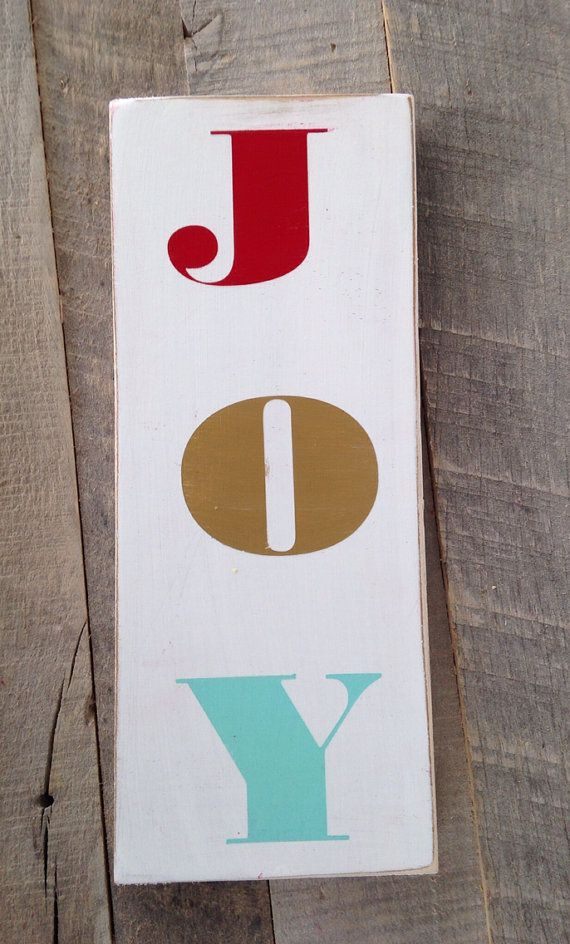 Joy one little word sign red aqua gold  by scrapartbynina on Etsy, $10.00