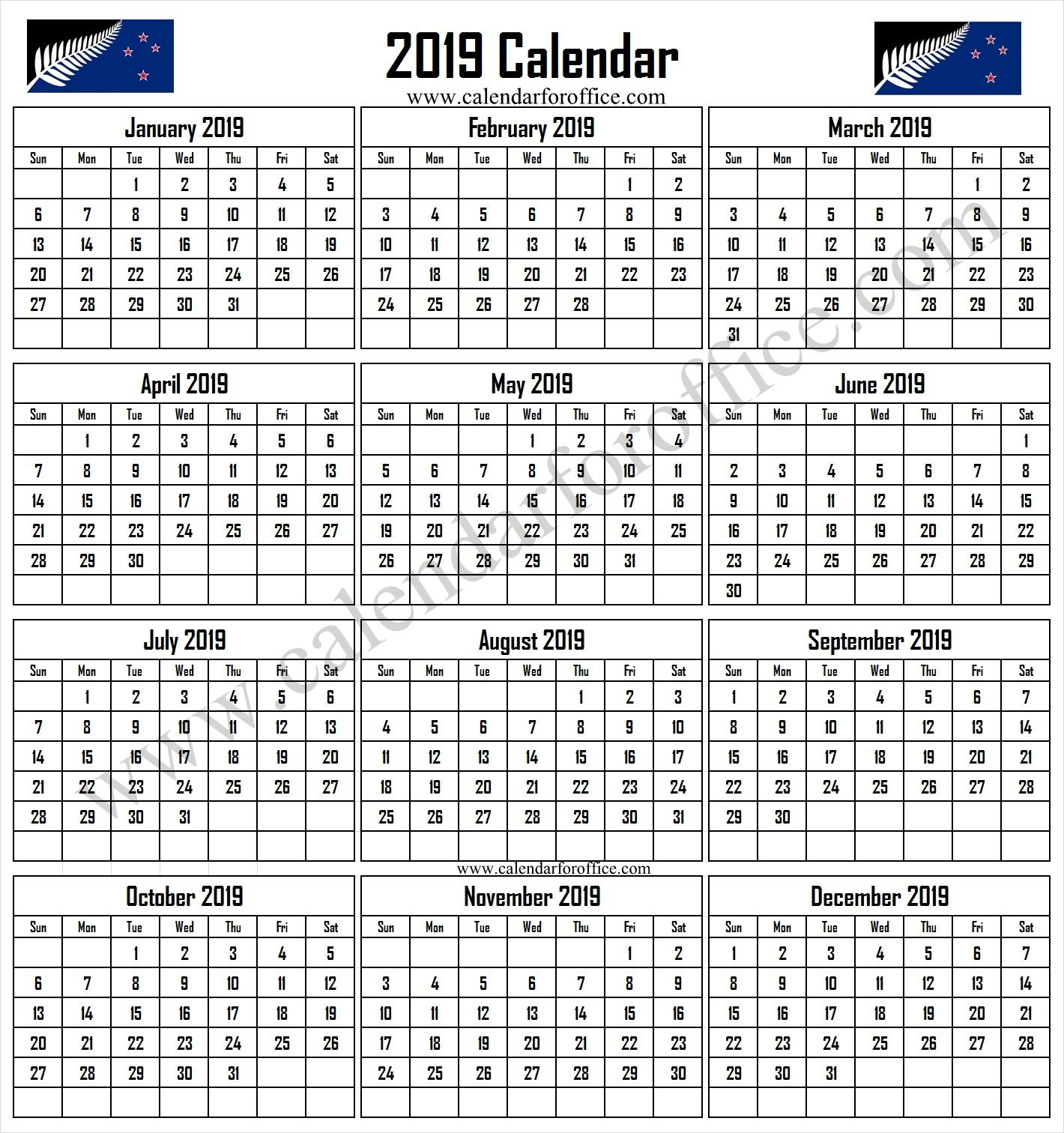 2019 Calendar Nz With Public Holidays Template Printable 2019