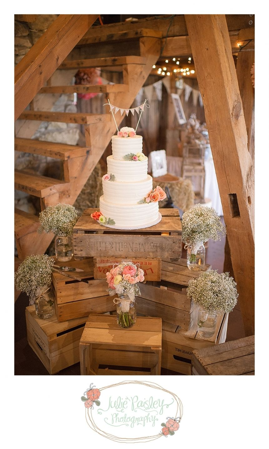 Barn wedding cake table ideas  Love this idea for the cake stand  I  D O  Pinterest  Rustic