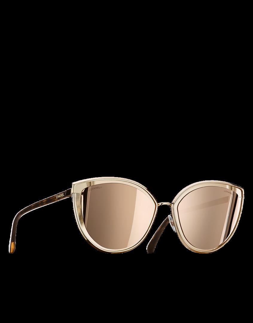 3878fac63a3c2 Óculos de sol em formato gatinho, metal - lentes banhadas com ouro 18  quilates-