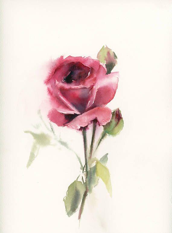 Red Rose Original Watercolor Painting Painting Of Rose Rose Art
