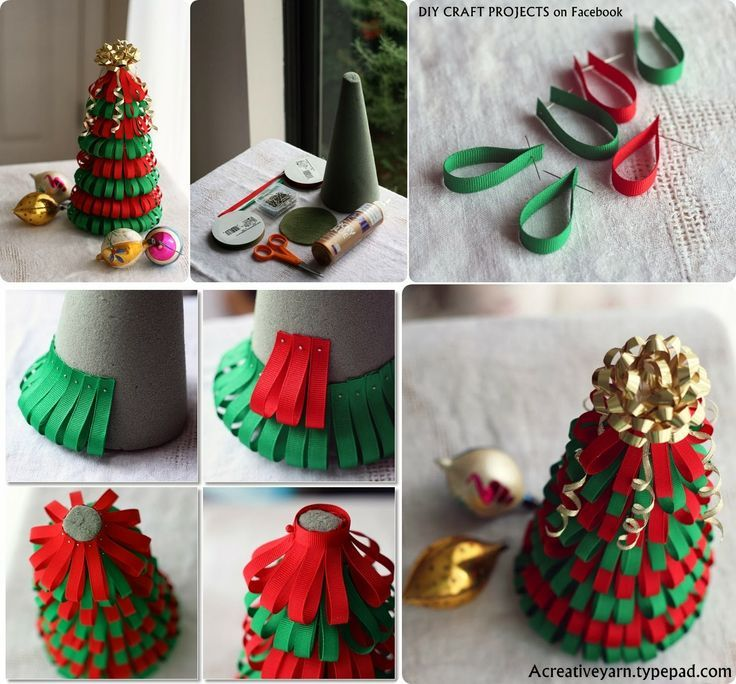 Ribbon Craft Projects Visit Diy Projectss Blogspot Com Creative Christmas Trees Unique Christmas Trees Christmas Tree Crafts