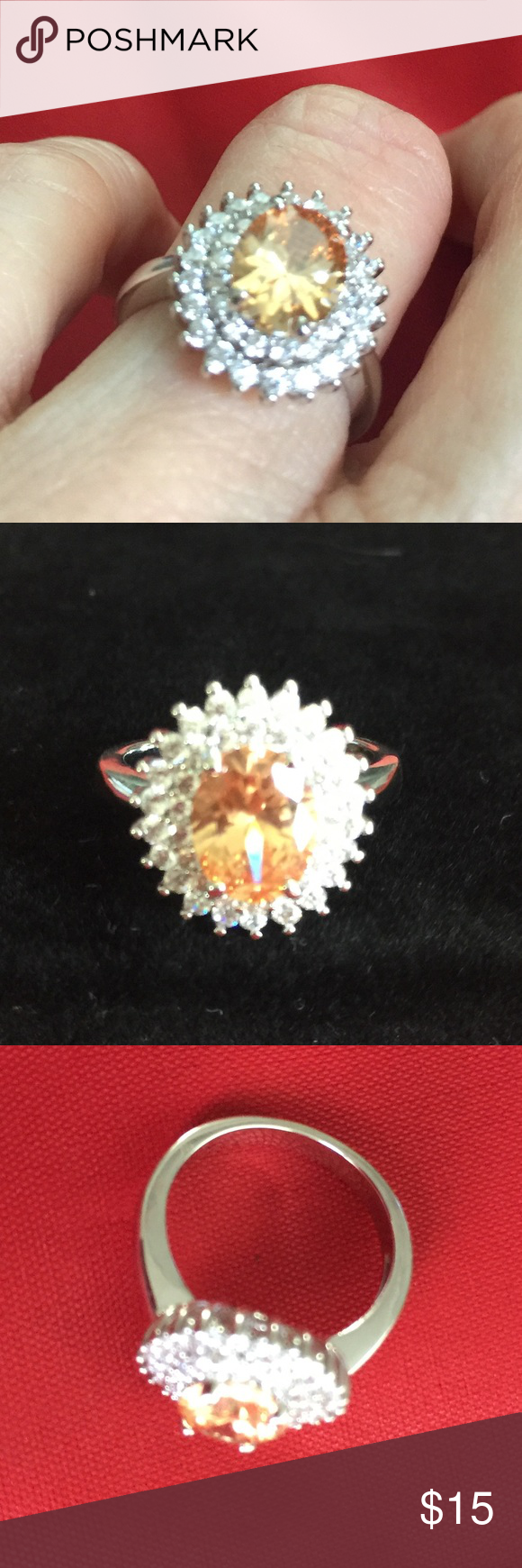 🆕 Silver tone Amber CZ oval stone clear 4.75 5 New without tags Silver tone color with Amber color oval CZ center stone with clear accent stones. Measures 4.75 on ring stick, fits my ring finger which is a size 5. Not sure of metal type. ‼️Firm unless bundled‼️ Jewelry Rings