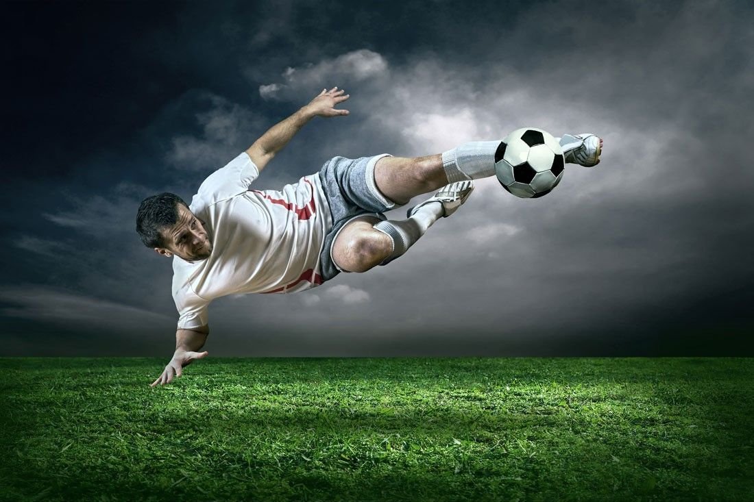 Soccer Action in Rain Wall Mural Sports Soccer This