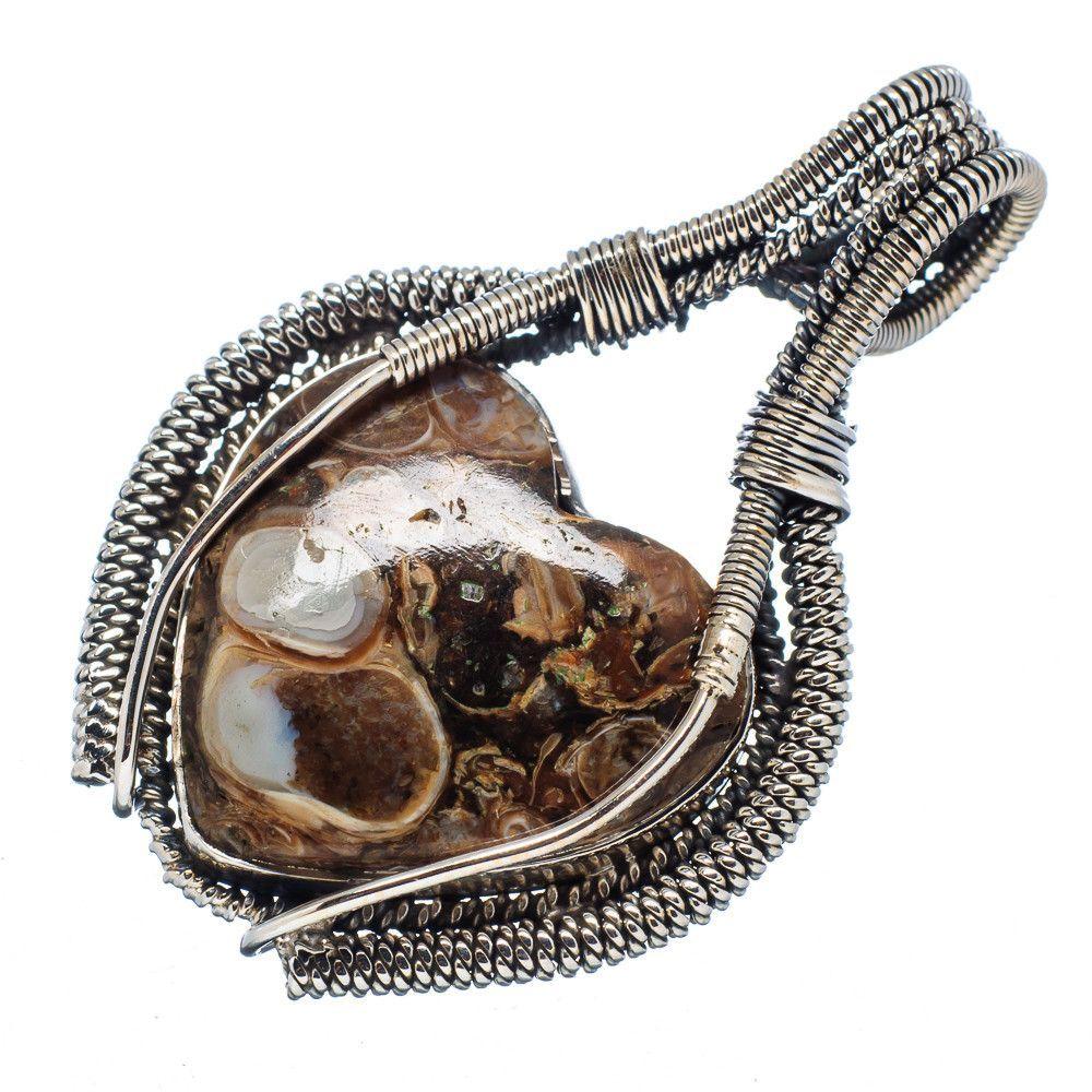 """Rare Turritella Agate 925 Sterling Silver Pendant 2"""" PD547376"""